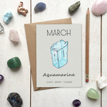 Load image into Gallery viewer, March Birthstone Aquamarine Illustration | Birthday | New Baby Card - Cherry Pie Lane
