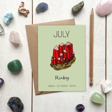 Load image into Gallery viewer, July Birthstone Ruby Illustration | Birthday | New Baby Card - Cherry Pie Lane