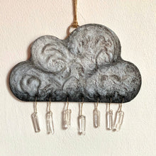 Load image into Gallery viewer, Handmade Wooden Rain Cloud with Crystal Drops - Cherry Pie Lane