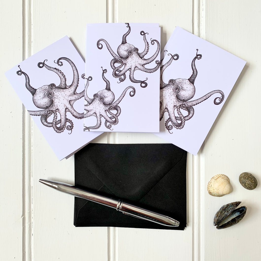 Set of SIX A7 Folded Octopus Illustration Notecards - Cherry Pie Lane