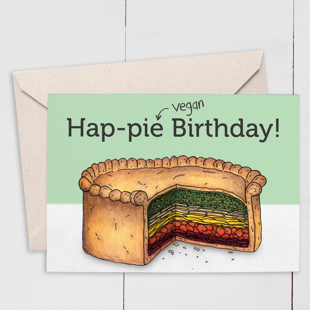 Funny Vegan Rainbow Pie Birthday Card - Cherry Pie Lane
