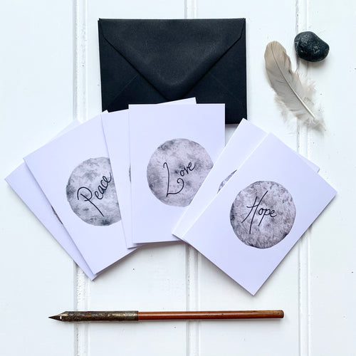 Set of SIX A7 Folded Moon Illustration Notecards - Peace, Love, Hope - Cherry Pie Lane