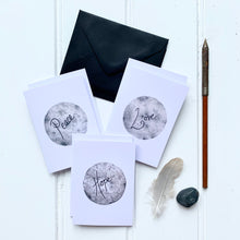 Load image into Gallery viewer, Set of SIX A7 folded moon illustration notecards - Peace, Love, Hope - Cherry Pie Lane