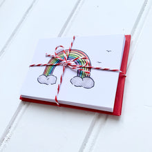 Load image into Gallery viewer, Set of SIX A7 folded rainbow illustration notecards - Cherry Pie Lane