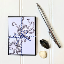Load image into Gallery viewer, Set of SIX A7 Folded Octopus Illustration Notecards - Cherry Pie Lane