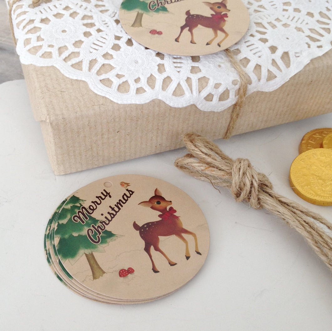 Pack of 10 Retro Style Festive Deer Christmas Gift Tags - Cherry Pie Lane