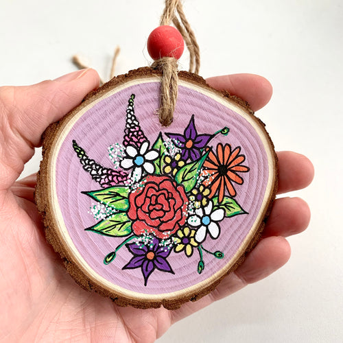 Hand Painted Spring Floral Woodslice Decoration - Cherry Pie Lane