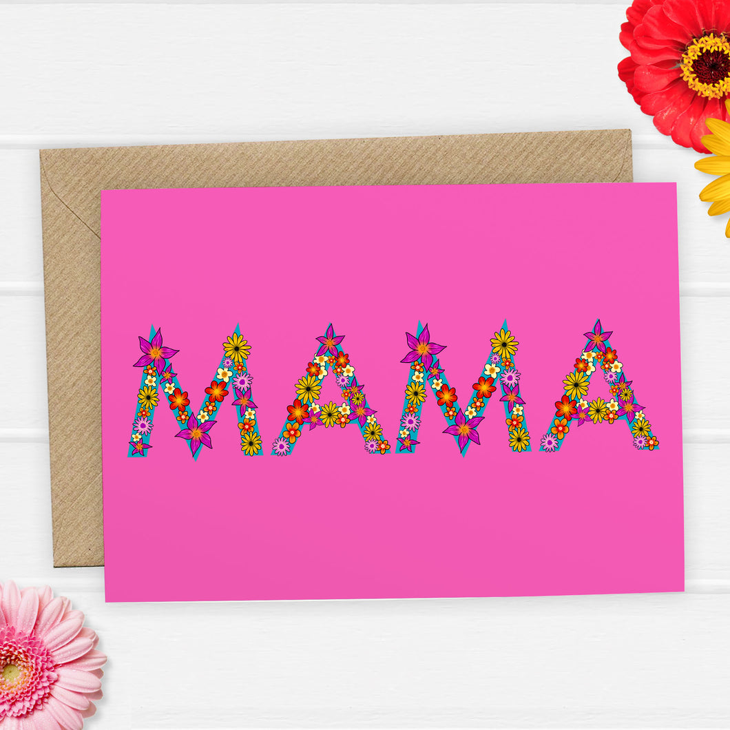 Mama floral letter Mothers Day Card - Cherry Pie Lane