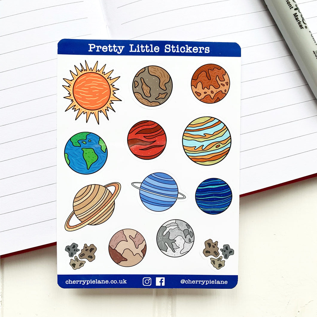 Space Planets Glossy Pretty Little Stickers - Cherry Pie Lane