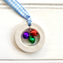 Load image into Gallery viewer, Rainbow Ceramic Ring Christmas Decoration with Gingham Ribbon and Bells - Cherry Pie Lane