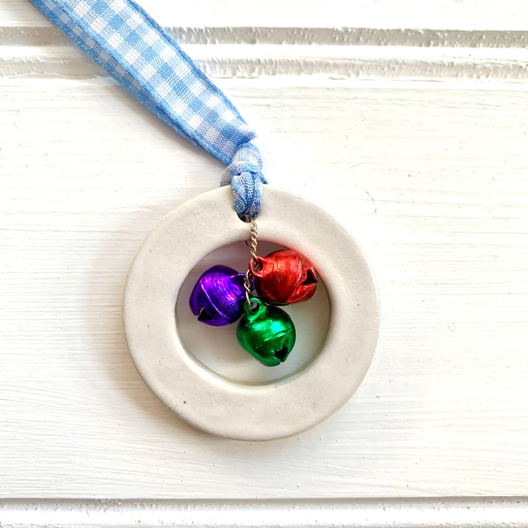 Rainbow Ceramic Ring Christmas Decoration with Gingham Ribbon and Bells - Cherry Pie Lane
