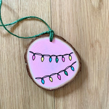 Load image into Gallery viewer, Hand Painted Christmas Fairy Lights Wood-slice Decoration - Cherry Pie Lane