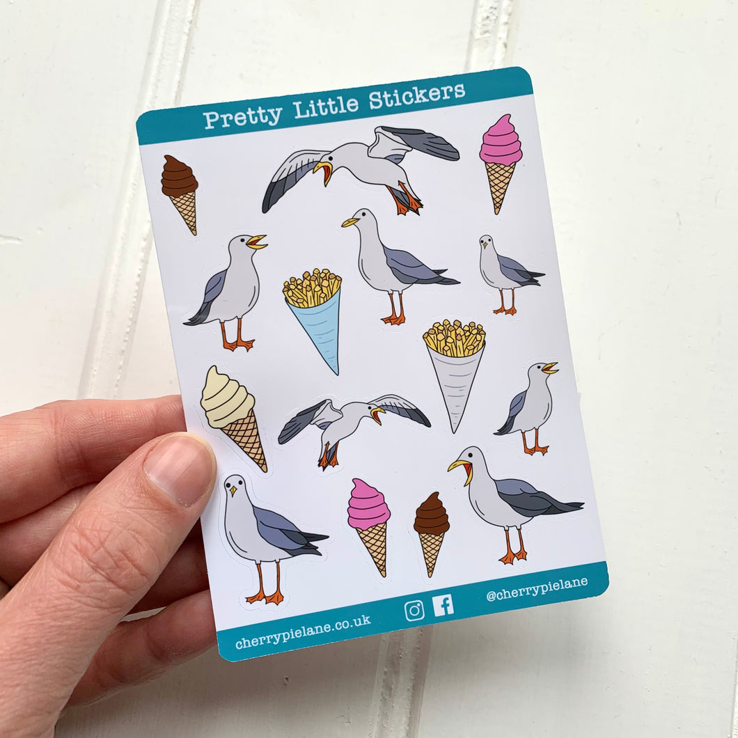 Seaside Seagull Glossy Pretty Little Stickers - Cherry Pie Lane