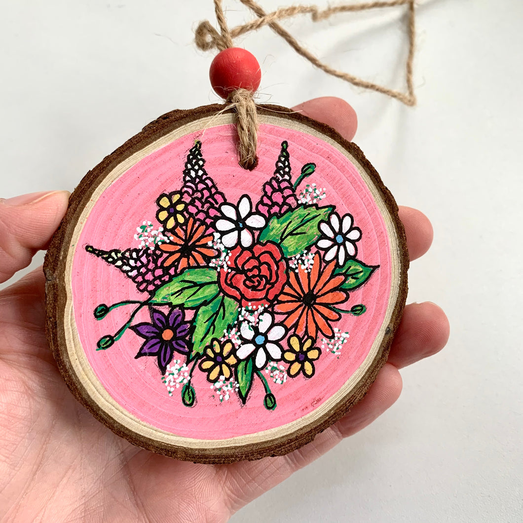 Hand Painted Pink Spring Floral Woodslice Decoration - Cherry Pie Lane