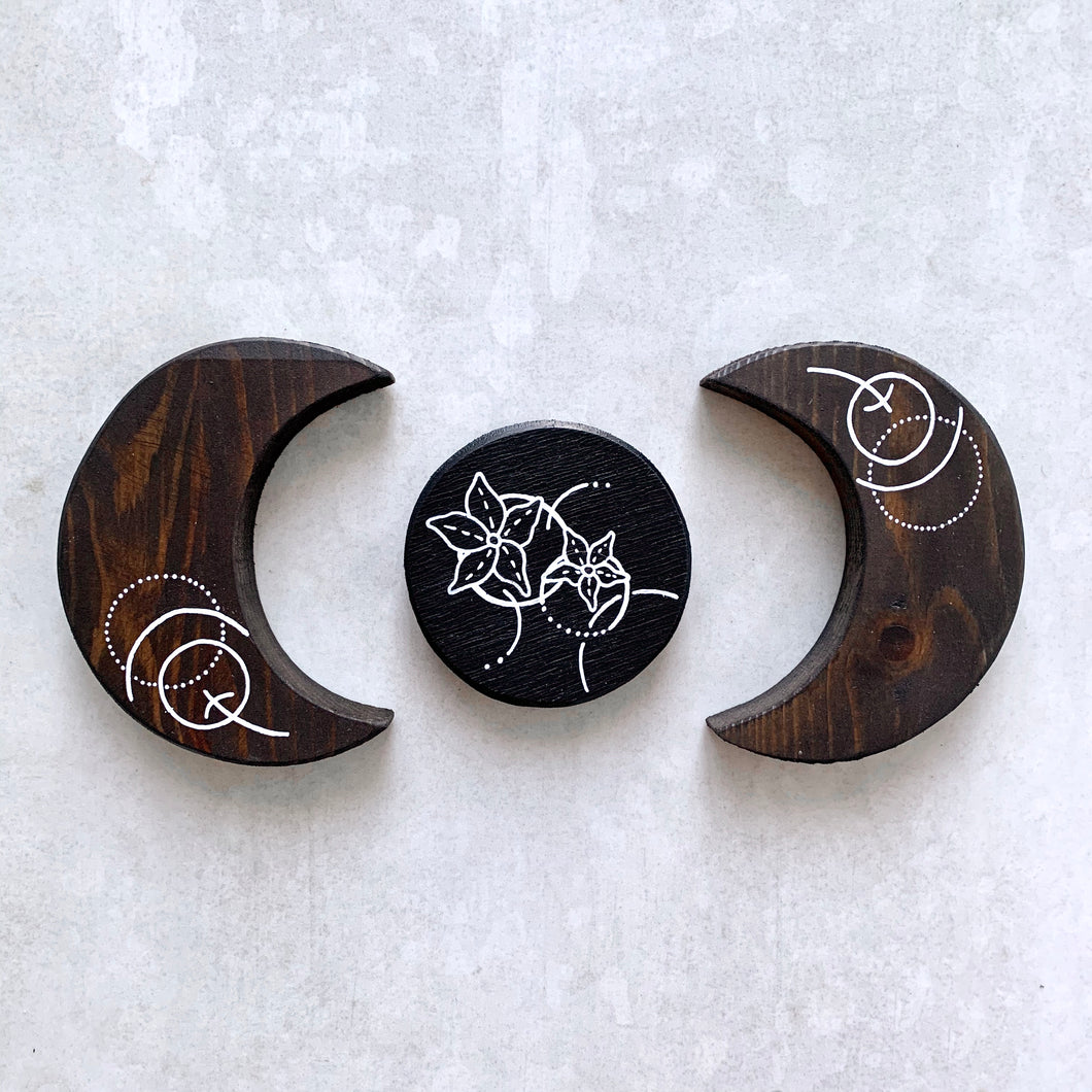 Handmade Wooden Abstract Floral Moon Set - Cherry Pie Lane