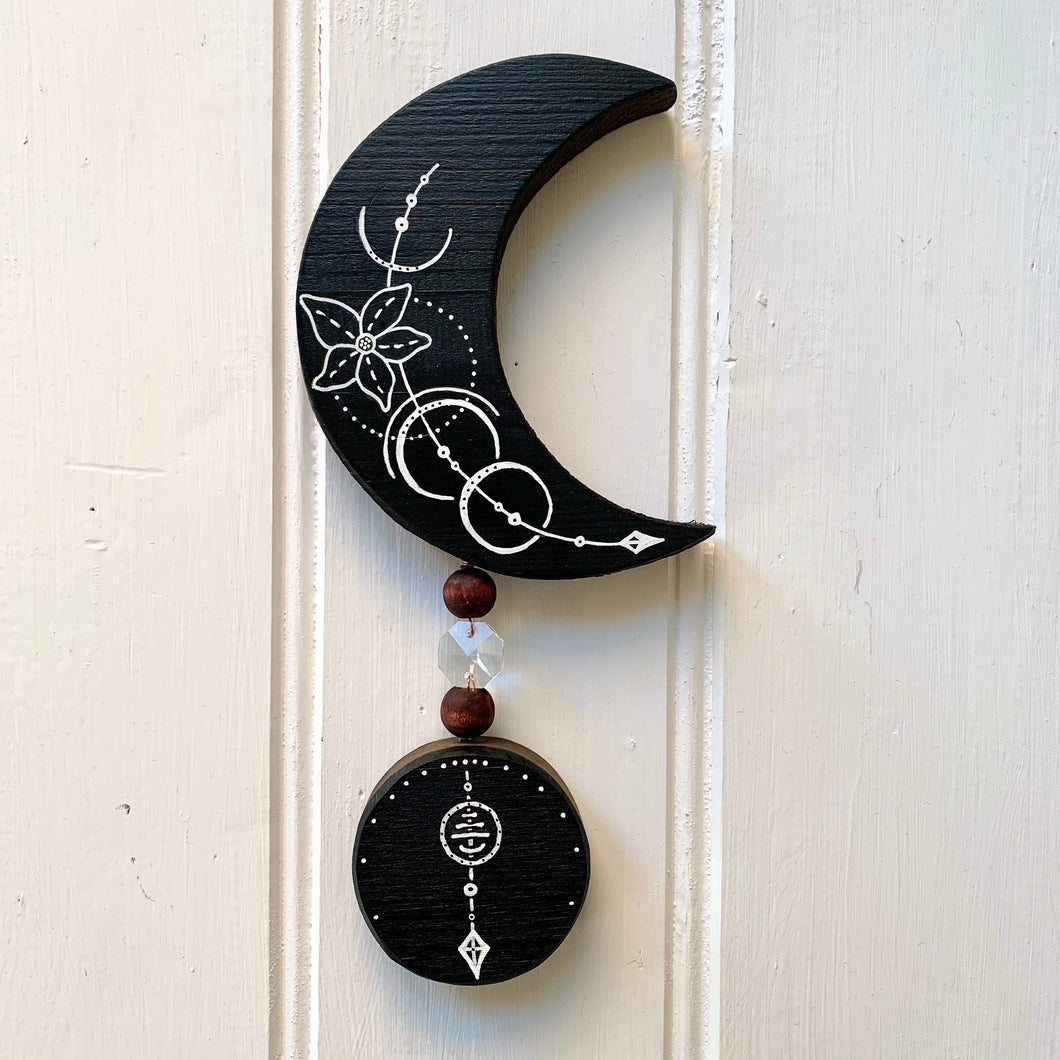 Handmade Navy Wooden Hanging Moon Art - Cherry Pie Lane