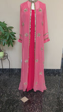 Load and play video in Gallery viewer, Pink & Peach Pure Georgette Work Long Dress
