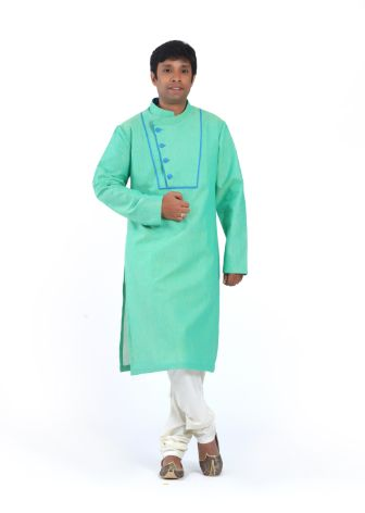 Sea Green Designer Mangalagiri Cotton Kurta With White Pyjama