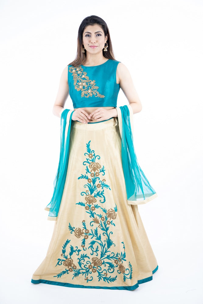 Cream & Blue Embroidery Art Silk Lehanga Set