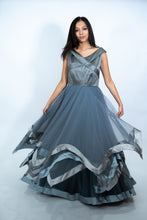 Load image into Gallery viewer, Gray Color Net Layered Long Dress