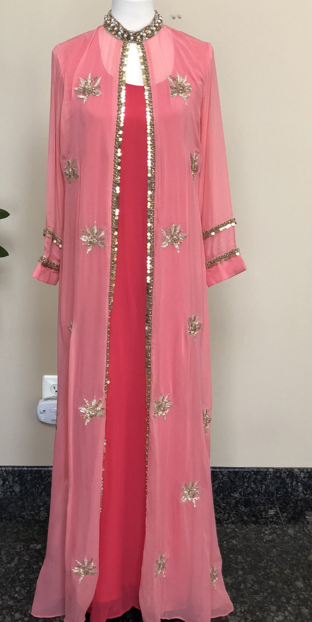 Pink & Peach Pure Georgette Work Long Dress