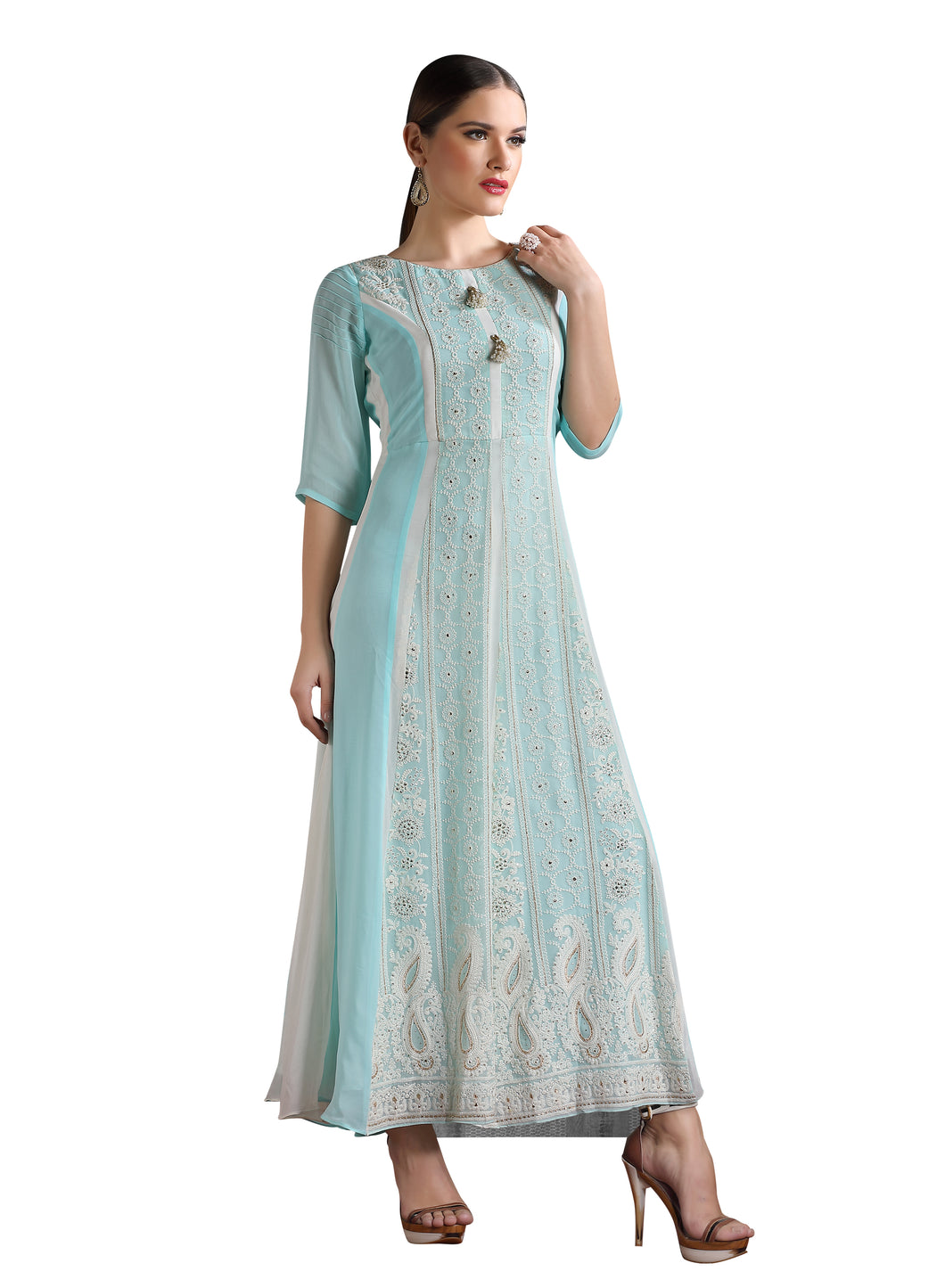 Ocean Blue Chikankari Embroidered Long Maxi Dress