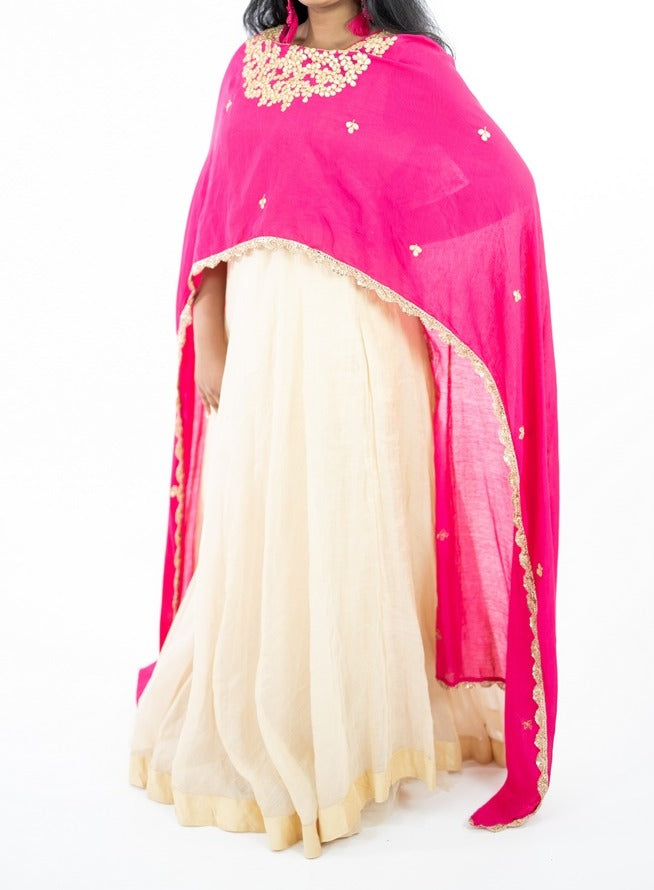 Cream Color Long Dress With Pink Gotta Work Attached Dupatta