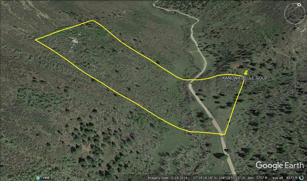 KANOWNA BELLE GOLD Placer Mining Claim, Cottonwood Creek, Dolores County, Colorado
