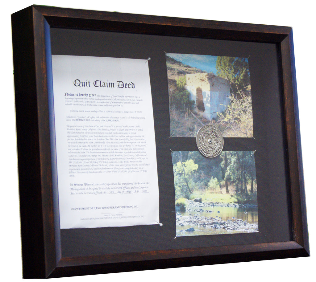 Framed Commemorative Display of Your Claim