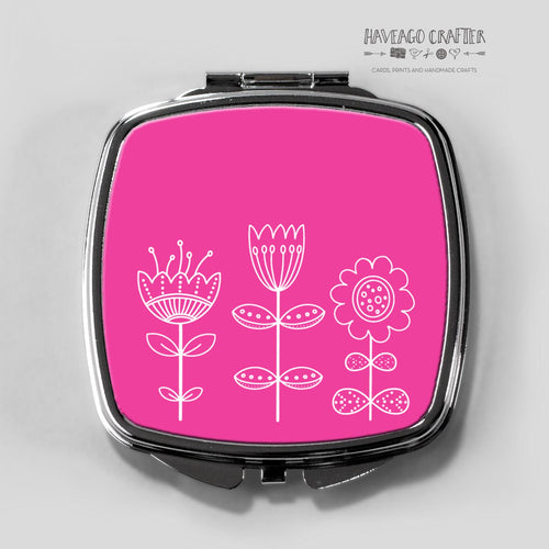 Doodle flowers compact pocket mirror in pink. - Haveago Crafter