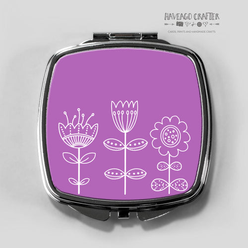 Doodle flowers compact pocket mirror in purple. - Haveago Crafter