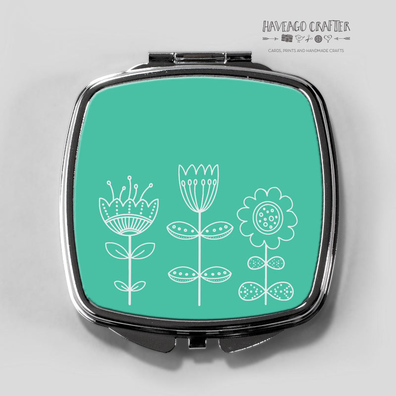 Doodle flowers compact pocket mirror in blue / teal. - Haveago Crafter