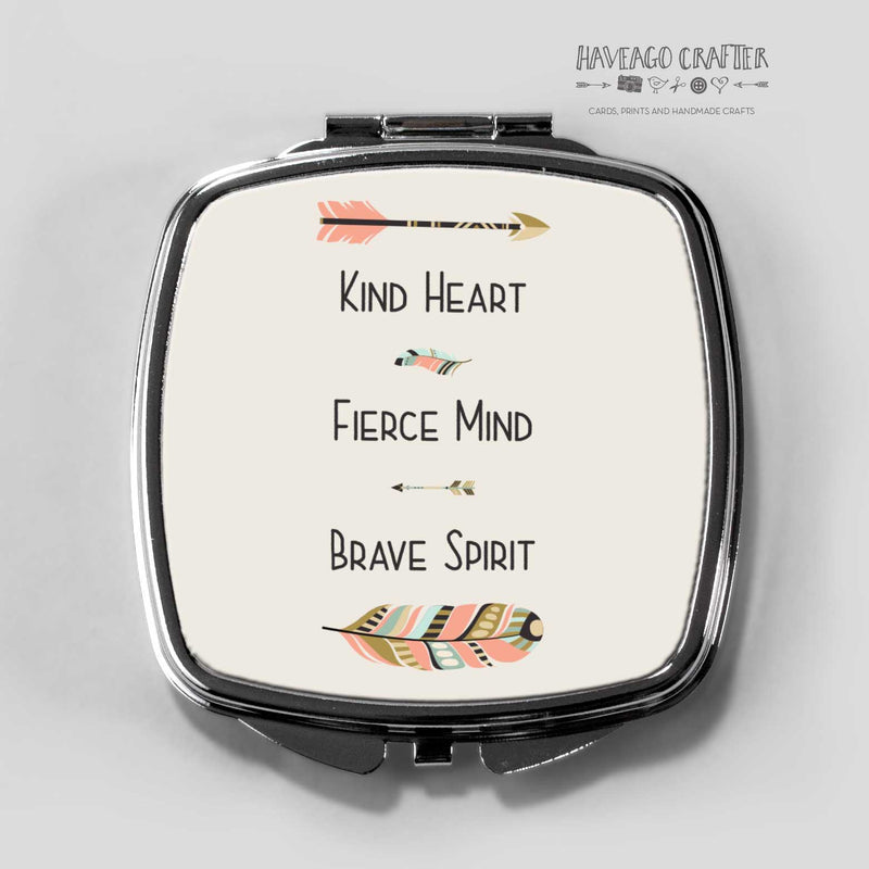 Kind heart compact pocket mirror. - Haveago Crafter
