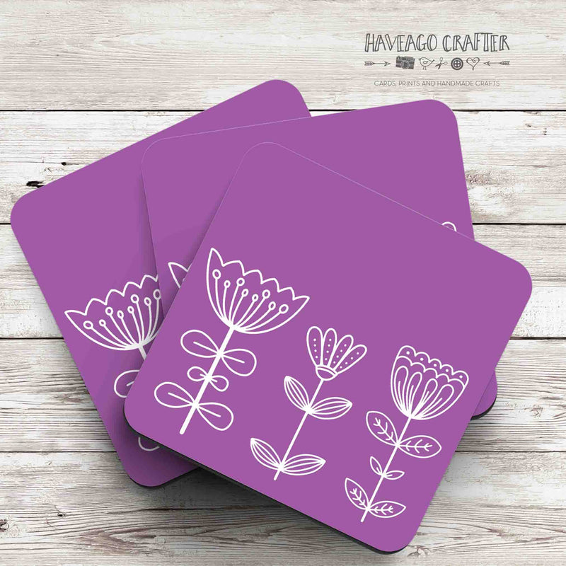Floral doodle midcentury modern design coaster in purple - Haveago Crafter