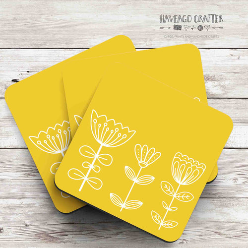 Floral doodle midcentury modern design coaster in yellow - Haveago Crafter