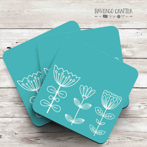 Floral doodle midcentury modern design coaster in blue / teal - Haveago Crafter
