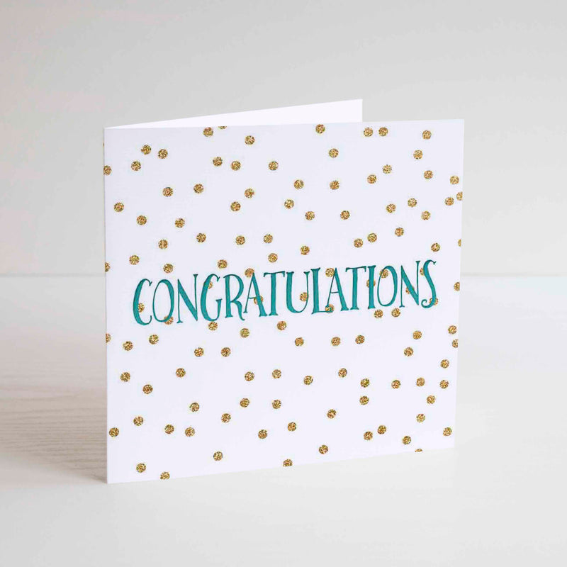 Congratulations letterpress / gold glitter effect printed greetings card. - Haveago Crafter