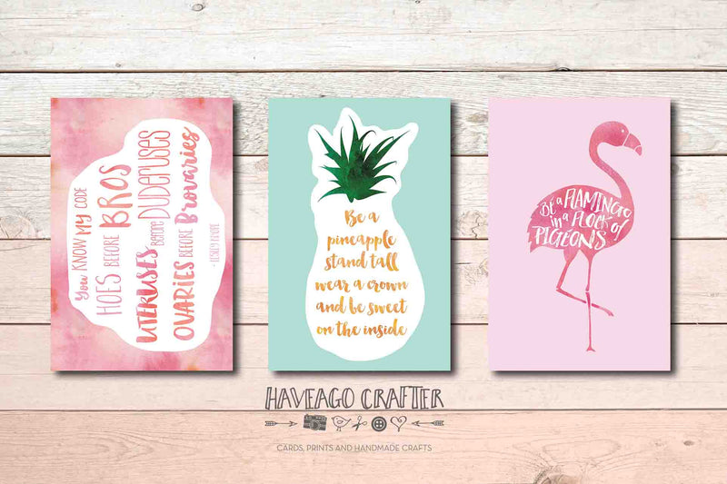Be a flamingo, Be a pineapple and Ovaries before brovaries postcards - Haveago Crafter