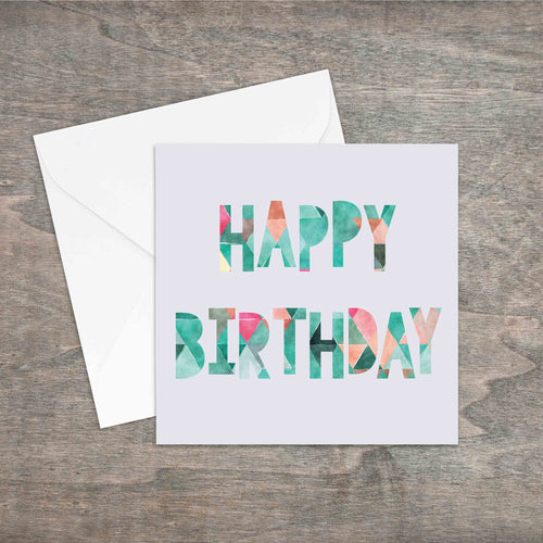 Happy birthday geometric effect printed greetings card. - Haveago Crafter