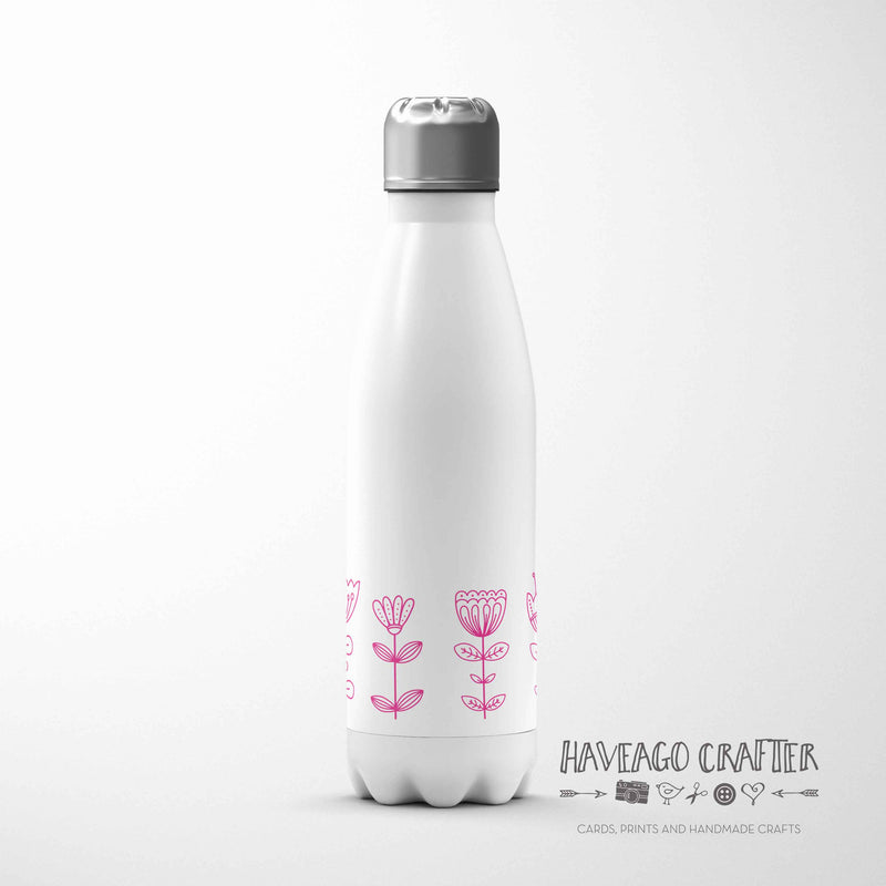 Doodle flower design insulated stainless steel water bottle in various colours. - Haveago Crafter