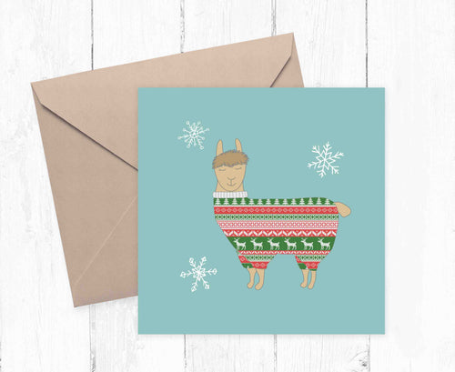 Llama Christmas jumper illustration printed greetings card. - Haveago Crafter