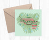 Chameleon Christmas jumper illustration printed greetings card. - Haveago Crafter