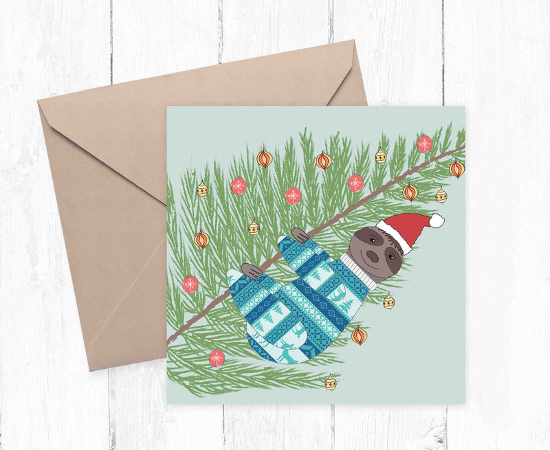 Sloth Christmas jumper illustration printed greetings card. - Haveago Crafter