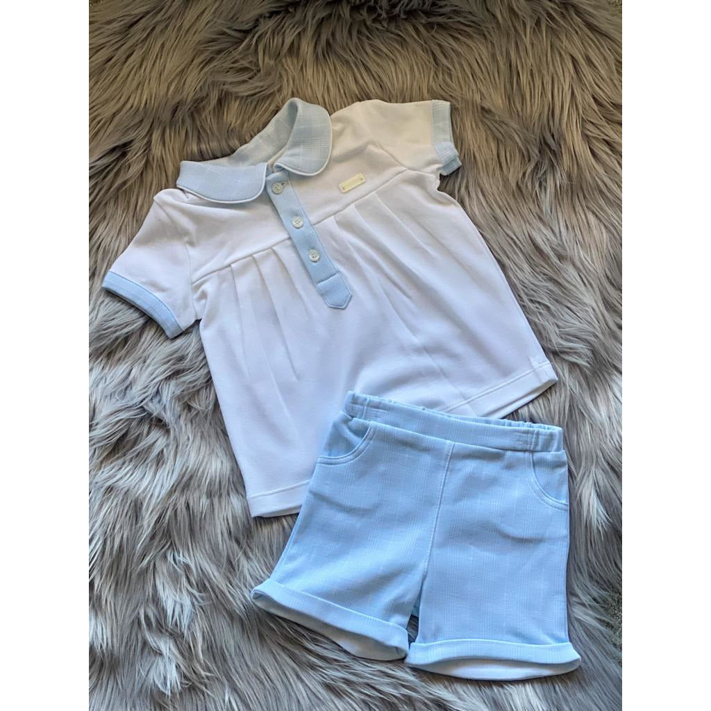 Light Steel Blue Boys | White Top and Blue Check Shorts Set