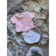 Load image into Gallery viewer, Girls Pink 2 Piece Knit and Dobby Set, by Pex. Beautiful and dainty, the must have to your little babe's wardrobe! Pink knitted top with button fastening to the back. Dobby dot woven peter pan collar with button deails. Includes lined, woven dobby dot pants.