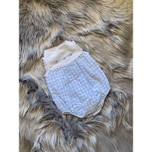 Load image into Gallery viewer, Perfect summer outfit for your baby girl. Just beautiful knitted and gingham blue romper with button fastening to the back and legs. Scalloped white trim to knit. Large satin bows.