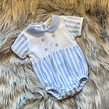 Load image into Gallery viewer, Stunning Boys White and blue striped romper with blue collar and front button feature. Perfect for those summer days!