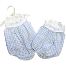 "Load image into Gallery viewer, Nursery Time Knitted & Gingham ""Bow"" Romper"