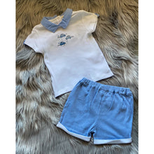 Load image into Gallery viewer, White and pale blue 2pc Mintini shorts set for your baby, or toddler boy. The top has an embroidered train design with blue contrasting collar. The shorts are a lovely pale blue and white stripe colour. A lovely soft cotton outfit perfect for summer.