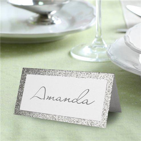 50 Silver Glitter Border Place Cards